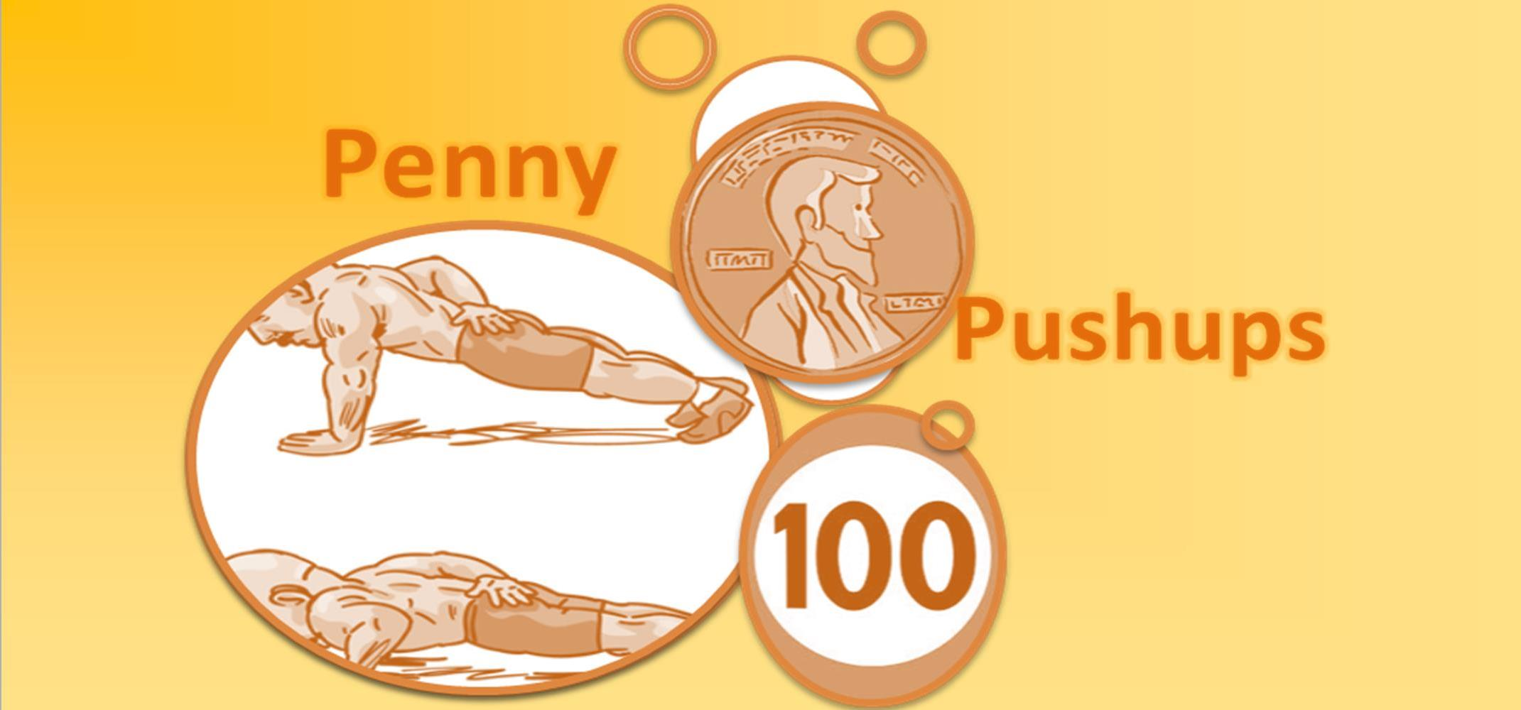 Picture of the PennyPushUps logo; A man doing push-ups with a penny in the left corner and 100 in the right corner!