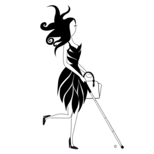 Abby is an illustration of a stylish fashion icon who walks in confidence, handbag in one hand, white cane in the other and her exquisite hairstyle floats about her head. She is wearing heels with a dress made of individual panels resembling overlapping banana leaves. The dress panels gently curve from her nipped in waist to just above the knee.