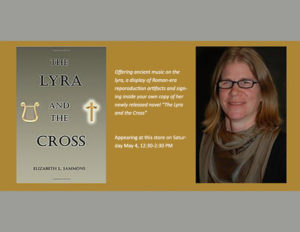 A headshot of Elizabeth Sammons & Cover of The Lyra & the Cross