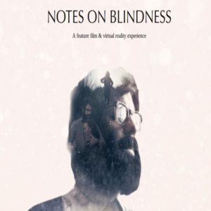 Scenes from the movie Notes on Blindness super imposed in the head of John Hull.