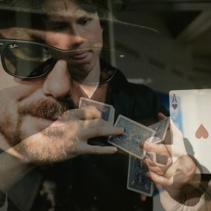 Picture of both Magicians shuffling cards...Chad Allen & Justin Sight