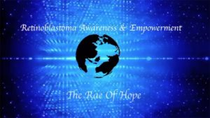 Logo for The RAE of Hope - a beam of light shining on to the earth from space
