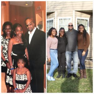 Side by side photos of the Reid Family in 2004 & 2018