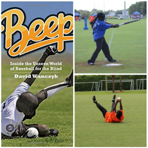 A collage including the cover of the book Beep: Inside the world... plus photos of a Beep player hitting & another photo of someone catching a ground ball.