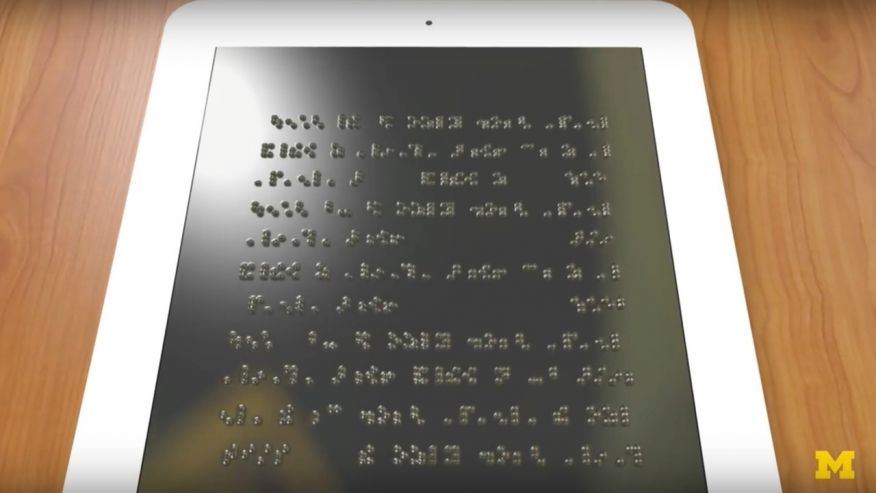 The Holy Braille! A mock up of a full tablet sized  Braille Display.