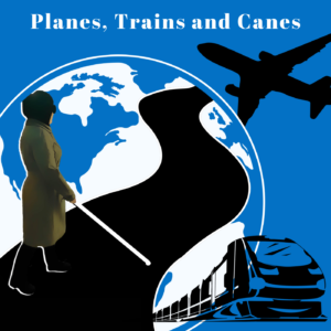 A logo features a square with  a black plane flying over it and a black train coming out of the globe. In white lettering at the top reads Planes Trains and Canes.